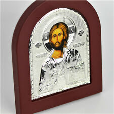 Religious Holy Jesus Saint Silver Plated & Wooden Standing Plaque