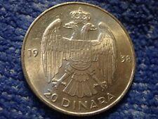 YUGOSLAVIA: SCARCE 20 DINARA 1938 IN BRILLIANT UNCIRCULATED CONDITION