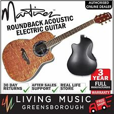 NEW Martinez Flame Finish Acoustic-Electric Roundback Guitar (Natural Gloss)