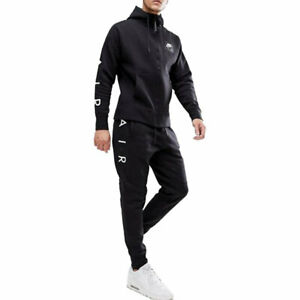 NIKE AIR 886044 Men Club Zip Hoody Full Tracksuit Cotton Hoody/Jogger Arm Print