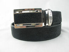 Genuine Stingray Skin Leather Money Belt All Black With Auto Buckle + Free Ship