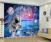 Starshards Astronaut 3D Curtain Blockout Photo Printing Curtains Drape Fabric