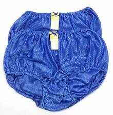 2x panties vintage bikini NICE QUEEN nylon satin brief Sexey Soft BLUE Size XL