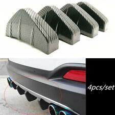 4pcs Carbon Fiber Car Rear Bumper Fin Canard Splitter Diffuser Valence Spoiler