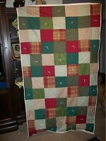 "CIVIL WAR STYLE REPRORODUCTION HEAVY HOMEMADE HAND TIED SOLDIERS QUILT 76"" X 42"""