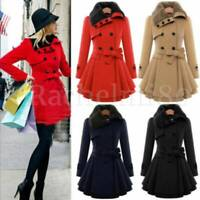 Zeagoo Long Womens Winter Wool Coat Fur Collar Thick Jacket Parka Outwear Blouse