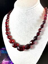 "FABULOUS CHERRY AMBER BAKELITE GRADUATED FACETED BEAD 26"" NECKLACE"