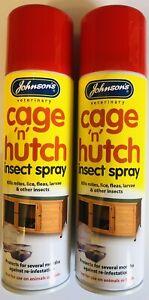 JOHNSON'S CAGE N HUTCH SPRAY 250ML X2 TWIN PACK KILLS MITES, LICE, FLEAS, LARVAE