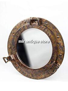 12'' Handmade Porthole Mirror Rustic Copper Shipwrecked Premium Solid Aluminum