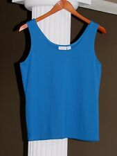 Chico's Peacock Blue Microfiber Tank Top Shell Cami Size 2 (12-14) NEW
