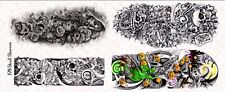 1/6 Scale Custom Tattoos  for Action Figures: Skull Sleeves - Waterslide Decals