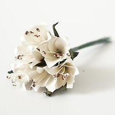 12 Paper Trumpet Flowers Bouquet Ivory Pink Beige Peach Lavender Crafts Wedding