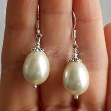 White drop teardrop pearls earrings 925 sterling silver hook Czech glass Jewelry