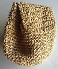 "Rattan Beige Large Shoulder Bag Purse 14"" Wide x 14"" Deep"