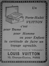 PUBLICITÉ DE PRESSE 1914 PORTE-HABIT VUITTON FAIRE UN BON VOYAGE - ADVERTISING