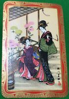 Playing Cards 1 Single Card Old Vintage JAPANESE LADIES GIRLS Lady Girl FLOWERS