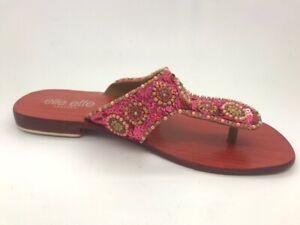 Ladies Shoes Elle effe Flat Thong Sandal Red/Pink multi Size 6