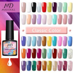 8ml MAD DOLL UV Gel Nail Polish Semi-permanent Soak off Glitter Nail Art Varnish