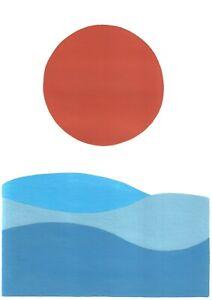 original painting A4 57ХAn art by samovar acrylic modern landscape sea