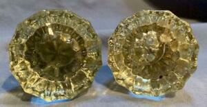 ANTIQUE ARCHITECTURAL 12 POINT CRYSTAL GLASS DOORKNOBS VICTORIAN