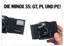 Prospekt MINOX 35 GT / 35 PE / 35 PL Kamera & Zubehör Broschüre von 1983 (Y156