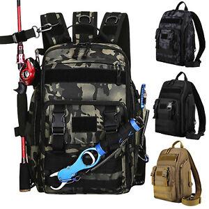 Fishing Backpack Waterproof Tackle Rod Storage Bag Outdoor Camping Shoulder Bag