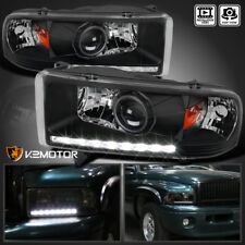 94-01 Dodge Ram 1500 2500 3500 Crystal Black LED DRL Projector Headlights