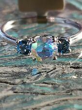 Mercury Mystic Topaz & Blue Zircon Round Cut 3 Stone Ring 10kt Solid White Gold