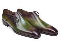 Paul Parkman Men's Side Lace Oxfords Green & Bordeaux Handmade Shoes