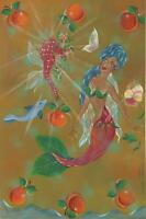 MERMAID ROSE BUDS PEACHES PANSY SEAHORSE DOLPHIN GARDEN NAUTICAL ART PAINTING