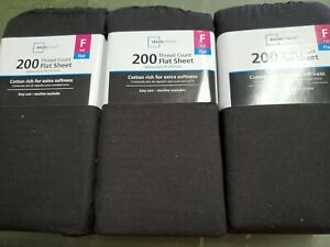 (Lot of 3)Mainstays 200 Thread Count Flat Sheet black  full size