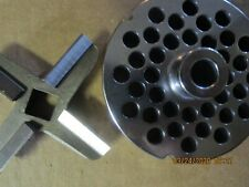 """HOLLYMATIC #32 GRINDER PLATE 3/8"""" HOLES 5/8 THICK W/ HARD EDGE KNIFE"""