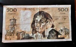 "Billet de 500 francs ""Pascal "" 1979 - N° J.7-6-1979.J. - 62879-"