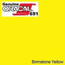 "ORACAL 651 Brimstone Yellow Vinyl Wrap Film 12"" x 10ft Solvent-Based Adhesive"