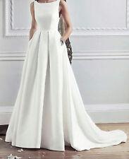 Sleeveless White Ivory A-line wedding dress Retro Bridal Gowns 2 4 6 8 10 12 14+