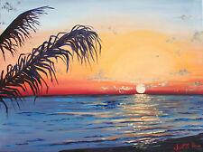 THOM ORIGINAL OIL PAINTING 24x18 EVENING SUNSET PALMS NOKOMIS BEACH FLORIDA