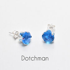 925 Sterling Silver Stud Earrings 7mm Round With Blue Zircon Cubic Zirconia