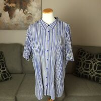 MAGGIE BARNES 3X 26/28W plus size blue striped short sleeve blouse shirt top