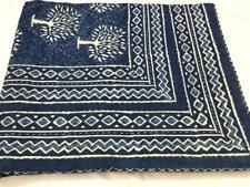 Indigo Blue Ethnic Bedspread Ralli Queen Kantha Quilt Indian Handmade Blanket XZ