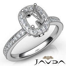 Diamond Engagement 18k White Gold Halo Cushion Semi Mount Milgrain Ring 0.5Ct