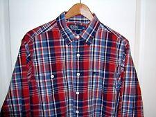 Men's RALPH LAUREN L/S Shirt Red Blue White Plaid sz Large