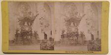 Bruxelles Chaire de l'Église Ste Gudule Belgique Photo Stereo Vintage Albumine