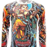 ls13 M L XL Irezumi Tattoo Long Sleeve T-shirt Ganesh Ganesha Hindu Lord God Men