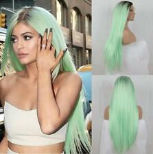 Women Ombre Mint Green Soft Straight Synthetic Lace Front Wig Long Hair Wig+Cap