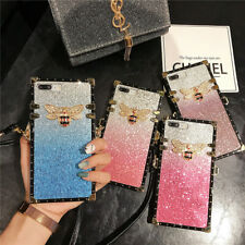 Fr Samsung Note20 iPhone 11 12 Bling Bee With Strap Square Shockproof Case Cover