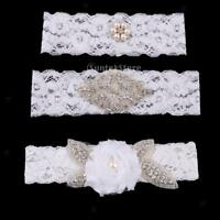 Wedding Bridal White Crystal Floral Lace Garter Set Keepsake & Toss Accessories