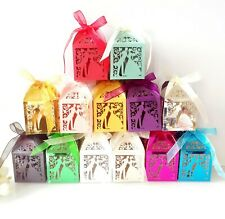 100pieces Bride and Bridegroom Hollow Candy Boxes Wedding Favor Cake Box Ribbon