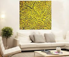 "Aboriginal Oil Art  canvas Bush Yellow Petals Flowers By Jane 36"" x 36"""