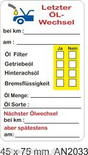 10 Serviceaufkleber ÖL Service Aufkleber KFZ Inspektion Wartung Ölwechsel 2033