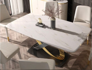 Dining Table Sintered Stone Top with Stainless Steel Circle Stand